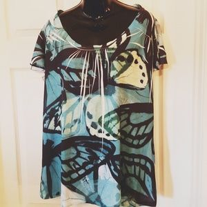DKNY Jeans Butterfly Print Top Turquoise White